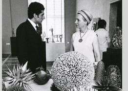 Iranian artist Parviz Tanavoli and Abby Weed Grey at the opening of an exhibition of student sculpture at the University of Tehran, May 14, 1967. Abby Weed Grey Papers, University Archives, New York University